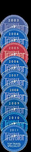 Conde Nast Top Travel Specialist Award 2003-2011